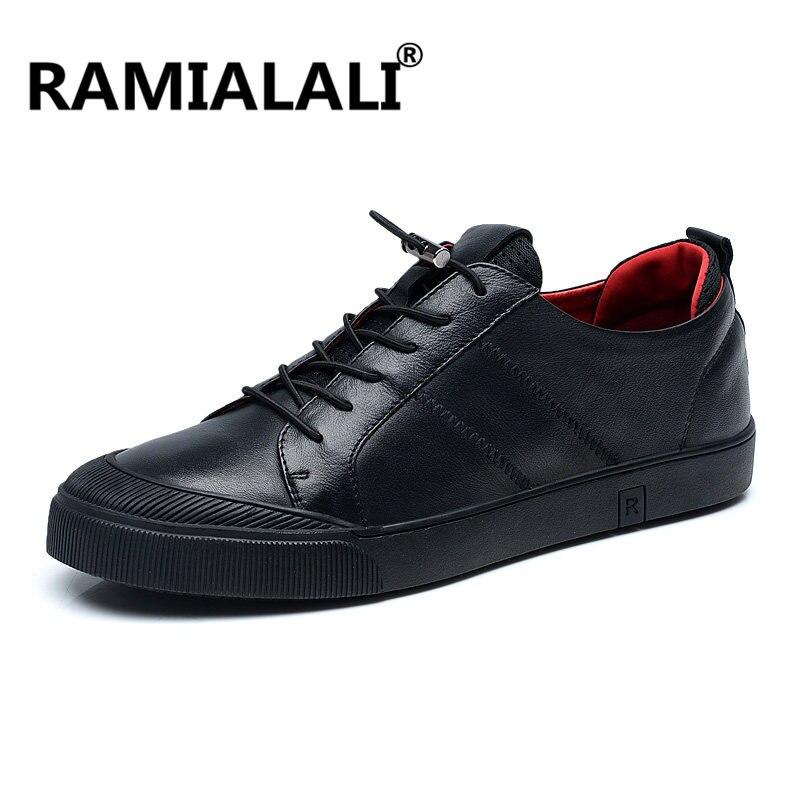 Chaussures Mans Minimaliste Occasionnel Tenis Cuir En Vintage Noir Masculinos Réel Hommes Confortable Ramialali Designer Sneakers Mâle zvP6A