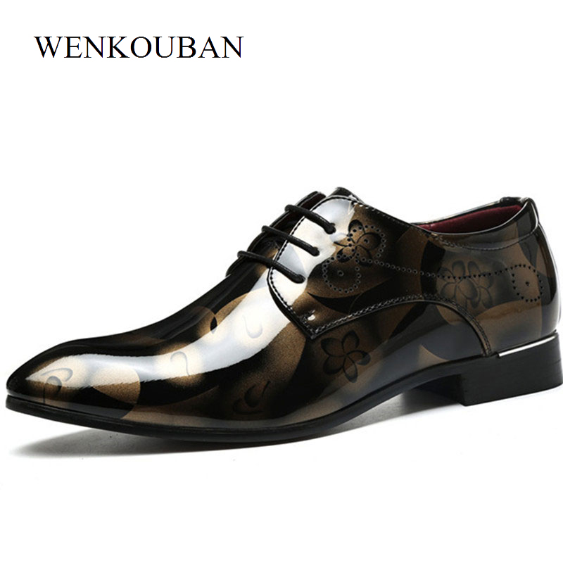 Luxury Men Dress Shoes Male Patent Leather Oxfords For Men Formal Shoes Pointed Toe Lace Up Business Wedding Ball lus Size okhotcn male pointed toe cow leather shoes daily plaid men casual business dress shoes oxfords men flat lace up sapato masculino