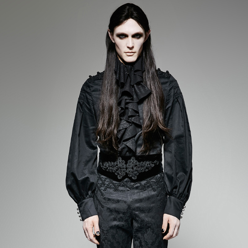 Gothic Men Black Girdle Punk Formal Waistband Big Plate Velvet Button Noble Temperament Corset Garment Accessories