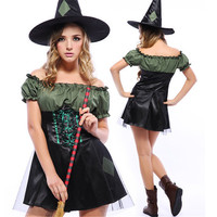 High Quality Dark green Sexy Witch Costumes Halloween Women Exotic Apparel dress Play Night clubs Fantasy Witch Cosplay Clothing