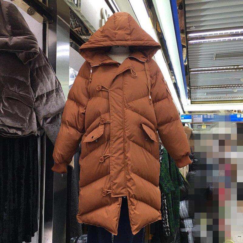 Korea 2017 Winter New Style Hooded Warm Long Coat Women Thicken Bread Parkas Ladies Fashion Coats Students Overcoat Outwear women lady thicken warm winter coat hood parka overcoat long outwear jacket