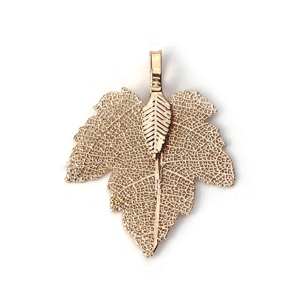 2PCS Silver Filigree Maple Leaves Charm Pendant for Necklace Jewelry Findings