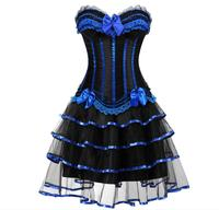 Plus size Women Burlesque Dancer Dress Witch Halloween Sexy Underbust Bustier Corset Mini skirt Gothic Corset Dress With Skirt