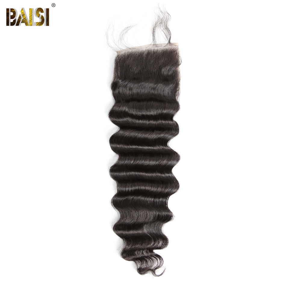 BAISI Hair Peruvian Loose Wave Hair Weave 5x5 Swiss Lace Closure 100 Human Virgin Hair