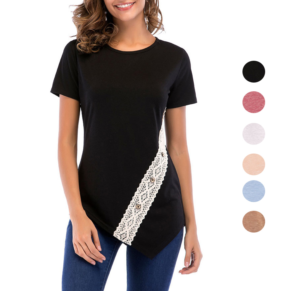 Summer Women Sexy T-Shirt Short Sleeve Tee Lace Patchwork Irregular Shirts Casual T-shirt H9