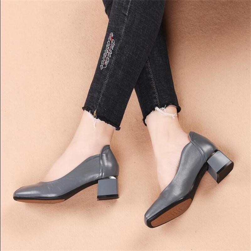 2019 printemps chaussures en cuir véritable femmes appartements mode mocassins simple bout carré en cuir de vache mocassins noir travail chaussures - 3