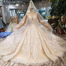 HTL128 luxury material wedding dresses with wedding veil high neck cap sleeve shiny handmade bride dress wedding gown fashion(China)