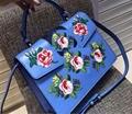 2017 Fashion women bag genuine cowhide skin leather shoulder women handbag flowers front, light blue, top quality handbag
