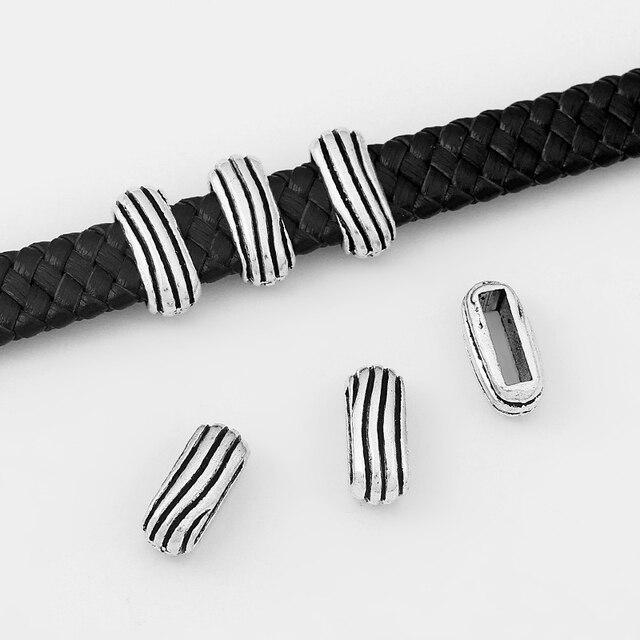 20Pcs Argent Antique 10x6mm Réglisse Cuir curseurs Spacer À faire soi-même Jewelry Findings
