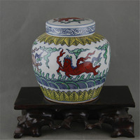 6 Antique Old Chinese MingDynaty Porcelain pot, color horse pattern jar,hand painted crafts, best Home Decorations&Collection