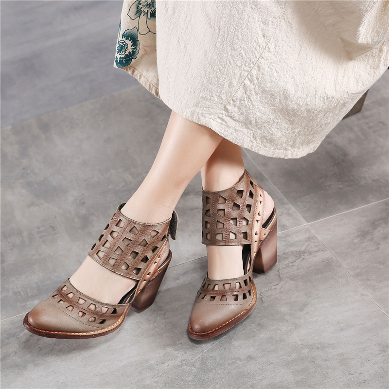 Tyawkiho Genuine Leather Women Sandals Hollow Out Summer Shoes 7 CM High Heel Rome Fashion 2018 Sandals Handmade Leather Shoes tyawkiho genuine leather women sandals 7 cm high heel pointed toe summer shoes hollow out retro sandals handmade women shoe 2018