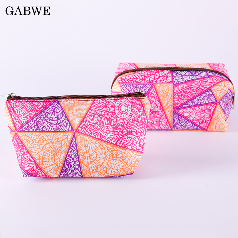 GABWE Cute Aztec Makeup Bags With Multicolor Pattern Mandala Cosmetic Case Pouch For Travel Women Organizer Storage Toiletry Bag