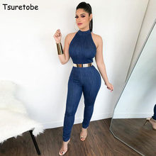 198852ac7d9 Tsuretobe Sleeveless Bodycon Denim Jumpsuit Women Rompers Fashion Zippers  Sexy Tight Overalls Bodysuit Female Jeans Jumpsuit