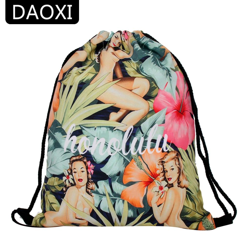 DAOXI Women Drawstring Bags 3D Printing European Style Personality Backpacks YY10186 drawstring bags