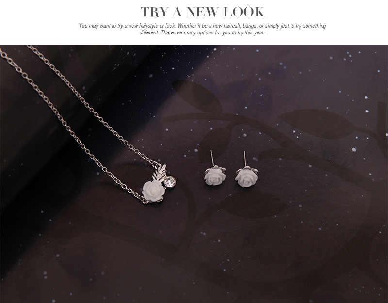 Women's flower Droplets Link Necklace Pendant Earring Charm Jewelry Set gargantilha Gifts Wedding