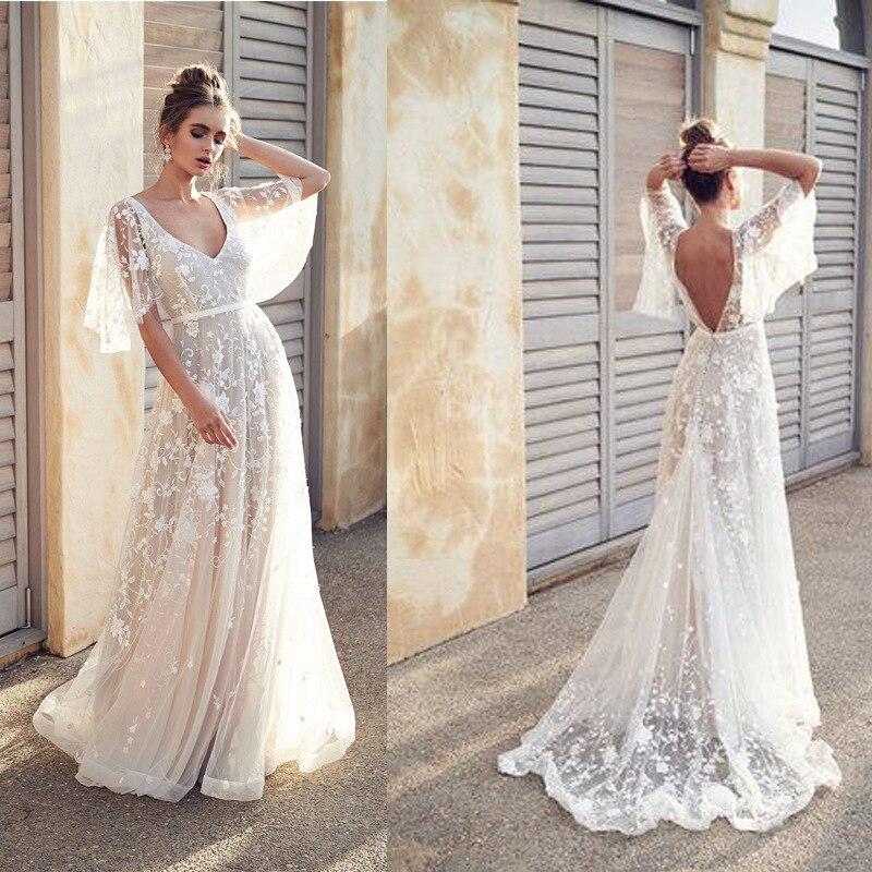 2019 nouvelles femmes longue robe Sexy profonde col en V décontracté robe de soirée dos nu sans manches robes blanches vêtements de vacances