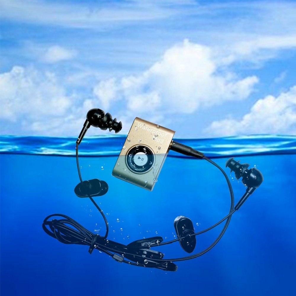 цена на Summer Swimming Clip Metal Waterproof MP3 Music Player headphones Sport Diving IPX8 with FM radio for Swimming Mp3 with earphone