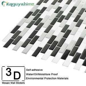 Kaguyahime 1Pcs/5Pcs Self Adhesive Wall Stickers Mosaic Tiles 3D Mosaic Wallpaper Waterproof DIY Decor For Kitchen Backsplash
