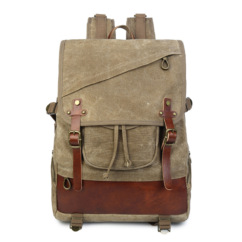 M190 New Vintage Canvas Leather Backpacks For Men 14 Laptop Daypacks Waterproof Canvas Rucksacks Large Waxed