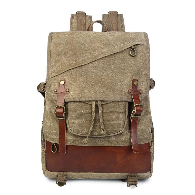 M190 New Vintage Canvas Leather Backpacks For Men 14