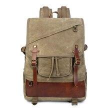 32437ac09d3 M190 New Vintage Canvas Leather Backpacks For Men 14