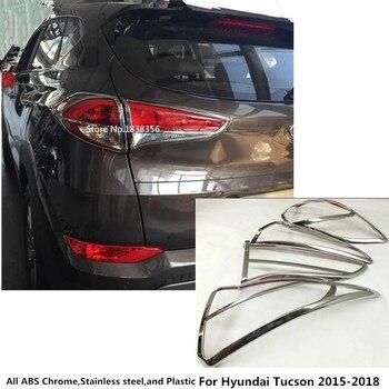 Top para Hyundai Tucson 2015 2016 2017 2018 estilo de coche para parte trasera de carrocería trasera luz trasera Marco de palos con lámpara cubierta cromada ABS trim 4 Uds