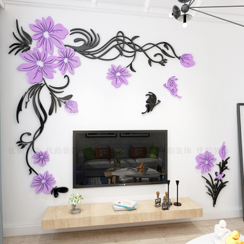 Creative flower 3D stereo acrylic wall sticker background warm decoration Large Size Mural Home Decor Living Room Wall Decals 10