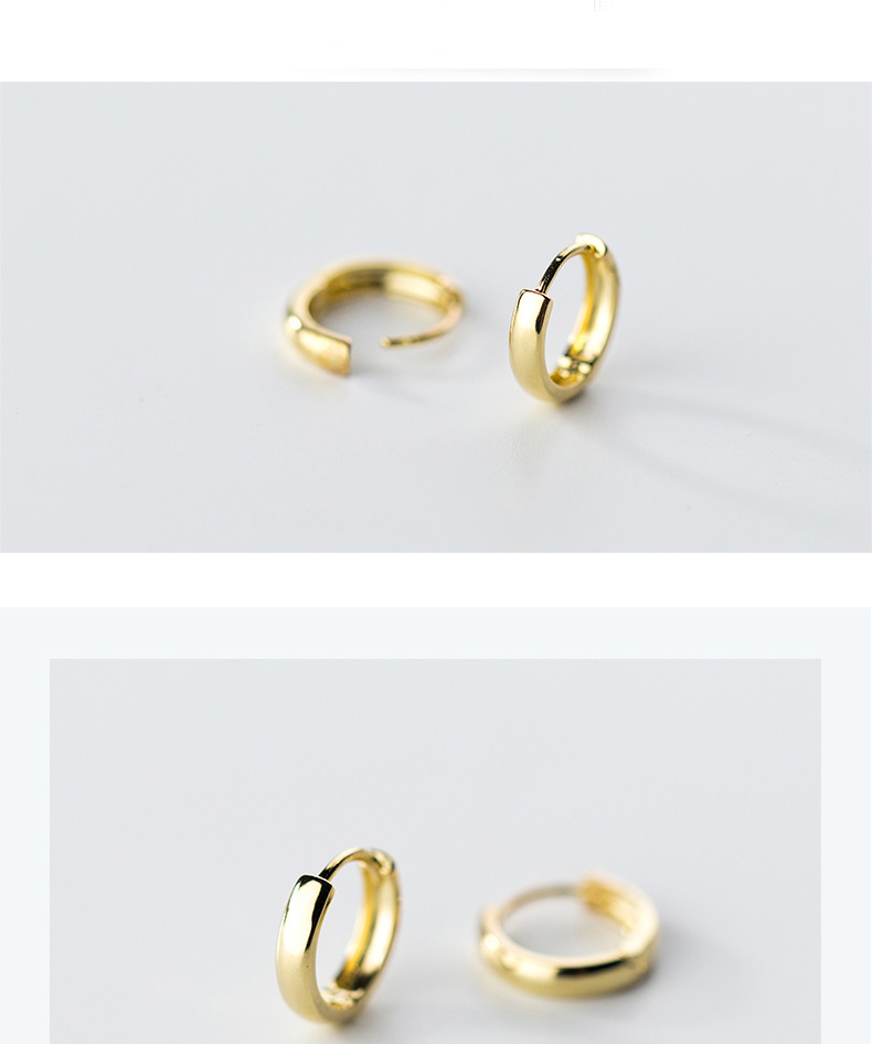 XIHA 100% Real 925 Sterling Silver Earrings for Women Simple Gold Color Round Small Hoop Earring Huggies Minimalist Jewelry (4)