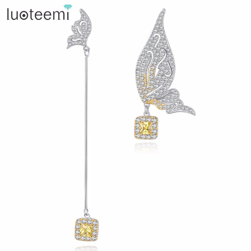 LUOTEEMI Two Butterflies With Yellow CZ Crystal Drop Dangle Earrings For Women White Gold Color Brincos Jewellery Fashion Gifts