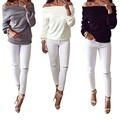 Fashion Women Elegant Sexy slash neck off shoulder T-Shirt long Sleeve female shirts Casual brand plus size ADY06-H