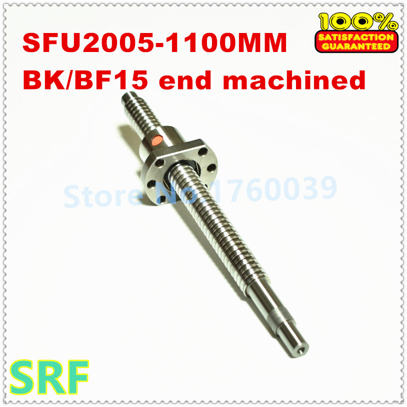 High quality 20mm Rolled Ballscrew 2005 L=1100mm C7+1pcs SFU2005 single ballnut CNC part with end machined for BK/BF15 20mm rolled ballscrew 2005 set 1pcs sfu2005 l 300mm 1pcs single ballnut 1pcs bk bf15 end support 1pcs 2005 ballnut housing