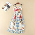 New 2017 spring summer vintage fashion women rose floral print dress sleeveless casual midi dresses
