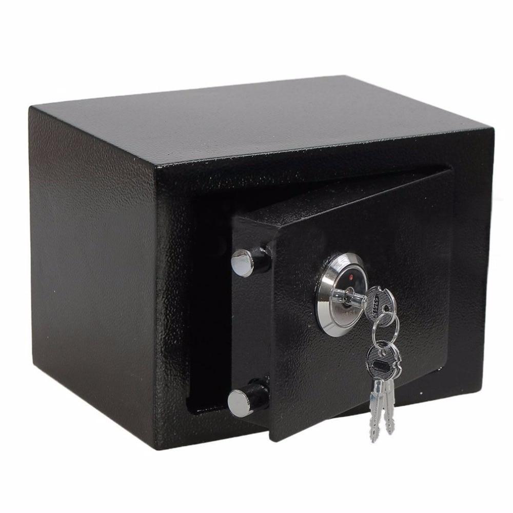 LESHP Strong Iron Steel safe box Key Operated secret lock box Money Cash Jewelry storage Security Box For Home Office hotel use ospon outdoor key safe box keys storage