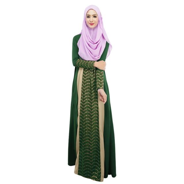 Casual Ladies Muslim Kaftan Arab Jilbab Abaya Islamic Stitching Long Sleeve Maxi Dress