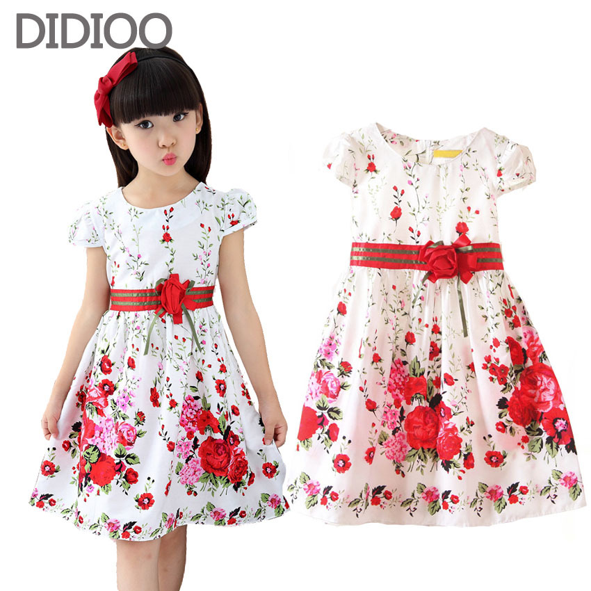 ecc94c4b7 Los niños vestidos de las niñas ropa de verano con estampado floral estilo  niña princesa vestido de fiesta de bebé niños ropa casual vestido de 2-10Y  ...