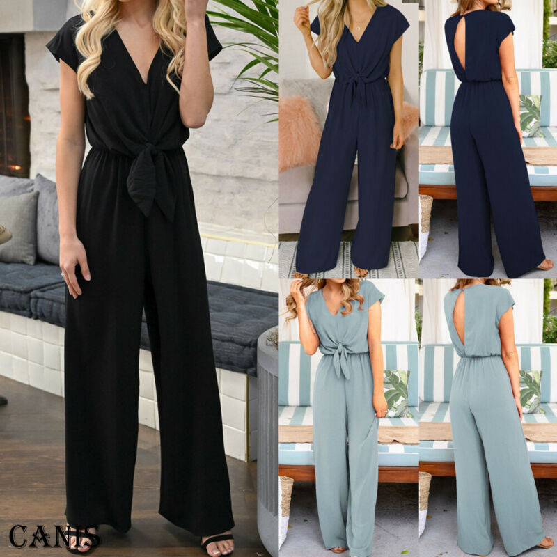Womens Clubwear Playsuit Bodysuit Party Jumpsuit Romper V Neck Short Sleeve Ladies Casual Simple Chiffon Long Trousers New