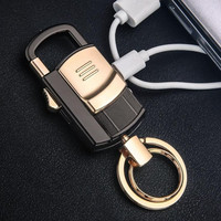 KeyRing Kay Chain Multifunction Cigarette Lighter Split Key Rings With LED Light Cigarette Tungsten Wire Lighter