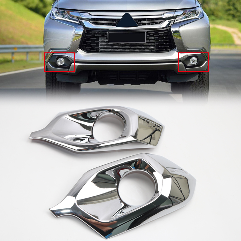 For Mitsubishi Pajero Montero Shogun Sport 2016 2017 2018 ABS Chrome Front Fog Light Lamp Cover Bezel Garnish Molding Trim 2pcs