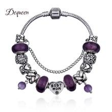 Dequeen(Лучшая Мама) браслет-Шарм Фиолетовый бисер с жемчужной подвеской стеклянные бусины цепочка-змея браслет Лучший подарок на день матери для мамы