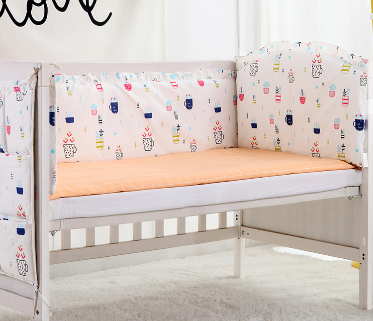 5PCS Cotton Crib Bed Linen Baby Bedding Set Crib Bedclothes Baby Cot Safe Shape Bumpers Sheet,(4bumper+sheet)