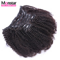 Curl Coily Clip In Human Hair Extensions Brazilian Human Virgin Hair African American Clip In Extensions 12-30 Clip Ins