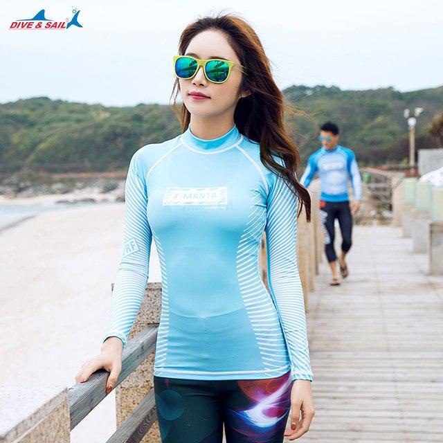 aff339f9f5a67 Womens Long Sleeve Rashguard Swimwear Rash Guard Tops Rash Guard Swim Slim- fit Wetsuit Skin