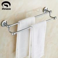 Chrome Polished Bathroom Solid Brass Towel Rack Double Towel Bar Bathroom Accessory
