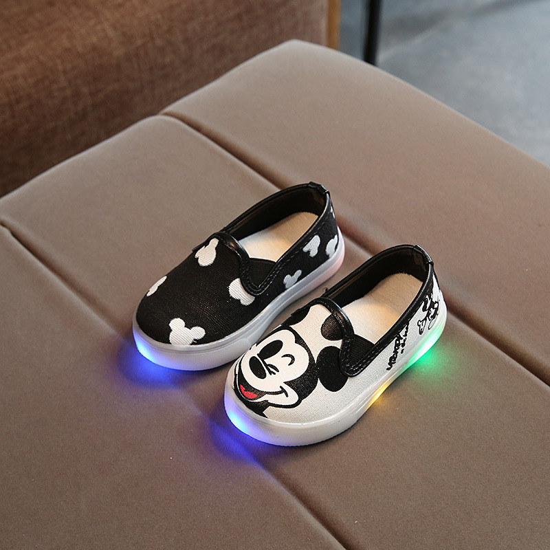 Kids Luminous shoes Sneakers Boys Girls Casual Led Shoes Boys Glowing Canvas Sneakers Children Cartoon Mickey Lighted Shoes