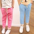 Envío gratis nuevo 2015 hot summer pantalones de los niños niños girls ruffle pantalones niños pantalones de harén de algodón de lino elástico de la cintura 2-7Y
