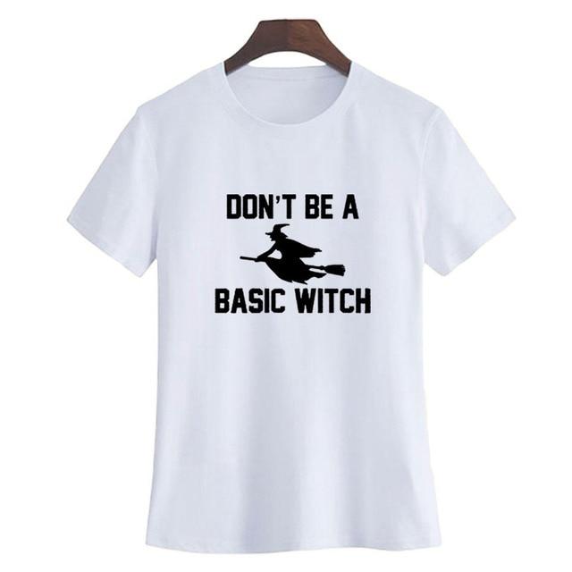 funny halloween t shirt women cute witch slogan crewneck short sleeve tee shirt don