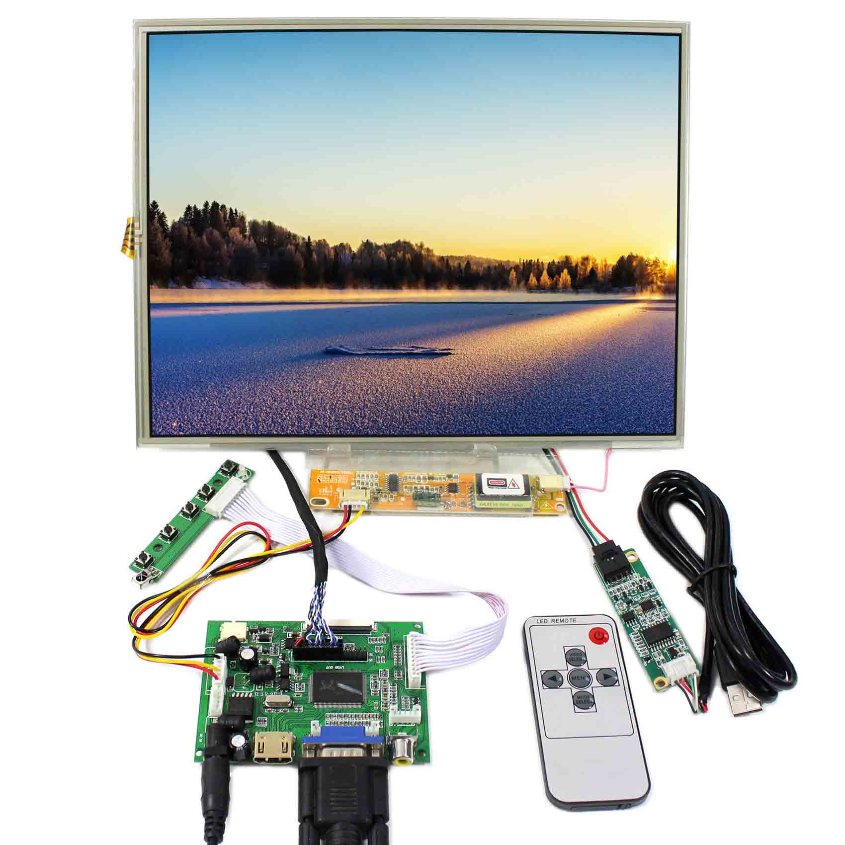 "HDMI VGA AV LCD Controller Board With 12.1/"" 1024x768 LED Backlight LCD Screen"