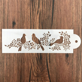 1Pcs Cute Magpie Bird on branches Shape Stencils Airbrush Painting Art DIY Home Decor Scrap booking Album Crafts Wholesale image