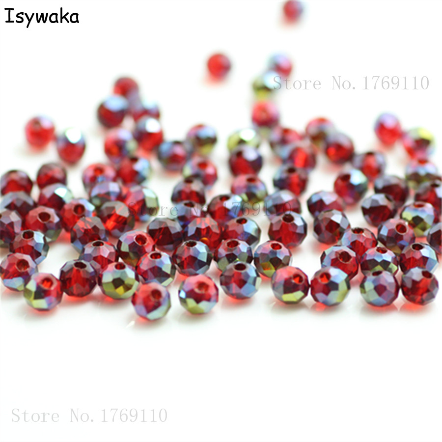 145pcs 6mm Red/& Clear Crackle Glass Beads