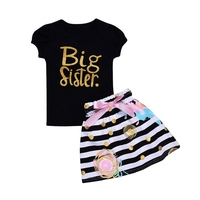 Newborn Baby Girl Clothes Sets Bebes Clothing Suits Letter Print Outfit Baby T Shirt Striped Skirt